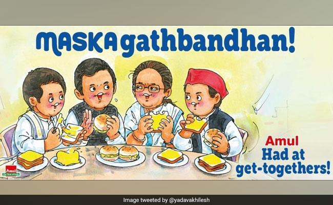 Akhilesh Yadav Shares Amul's 'Maskagathbandhan' Post