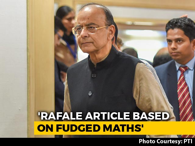 "Video : ""Fudged Arithmetic"": Arun Jaitley Dismisses Report On Rafale Deal Price Escalation"