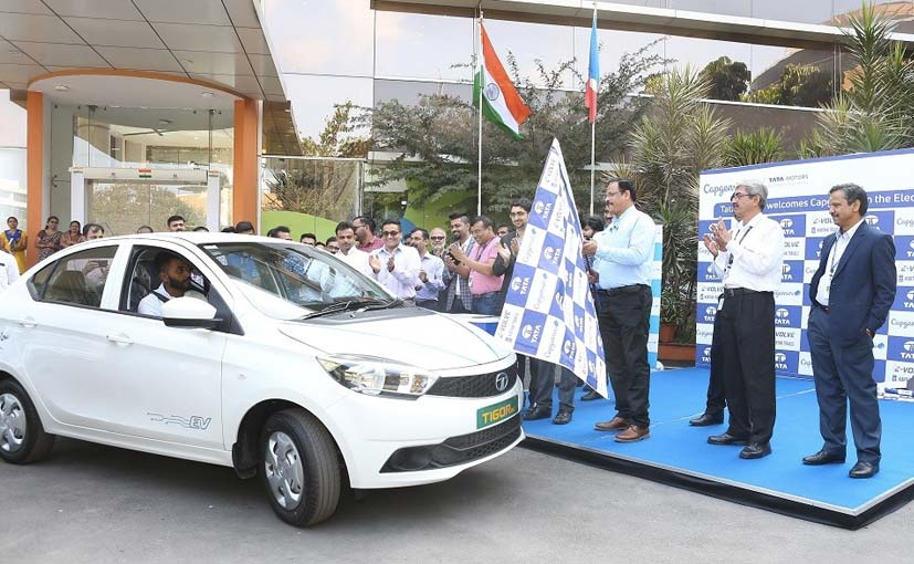 The flag off ceremony for the Tata Rigor EVs was conducted at Capgemini's Bengaluru campus
