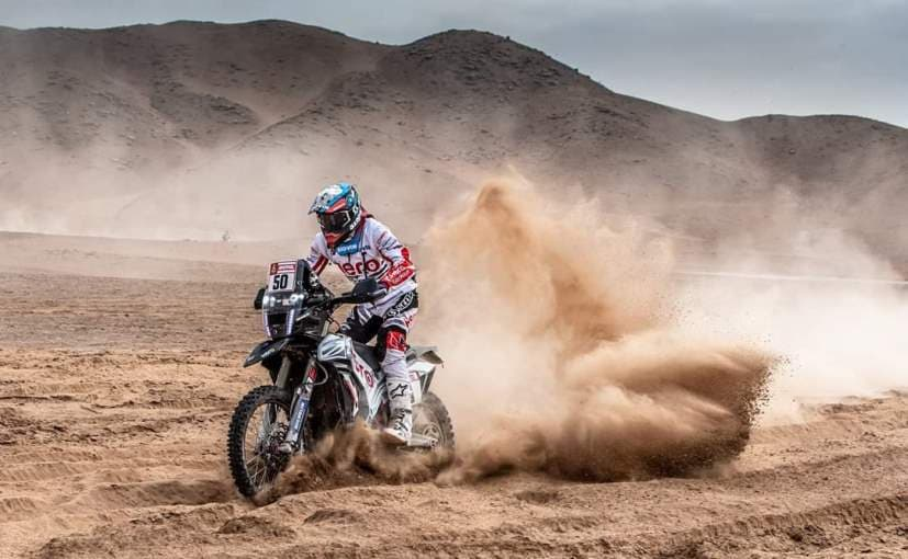 Hero MotoSports rider CS Santosh had a nasty crash in Stage 5 and has exited from the Dakar Rally