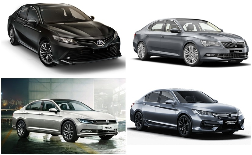 The Toyota Camry Hybrid rivals the Honda Accord, Skoda Superb, and Volkswagen Passat