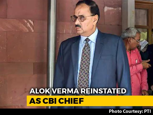 Video : Alok Verma Back As CBI Chief Without Powers As Court Scraps Centre's Order