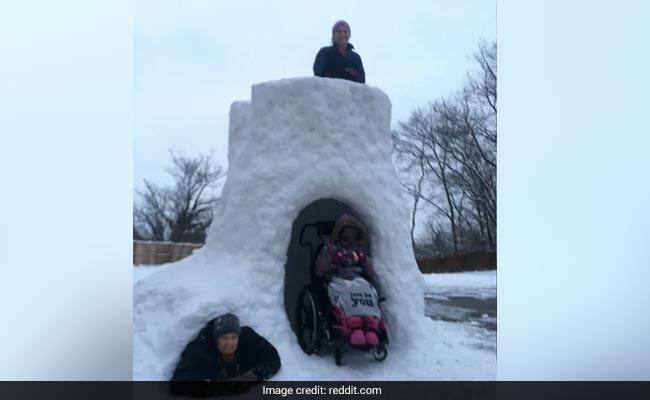 Dad Builds Wheelchair-Accessible Igloo For Daughter, Wins Hearts