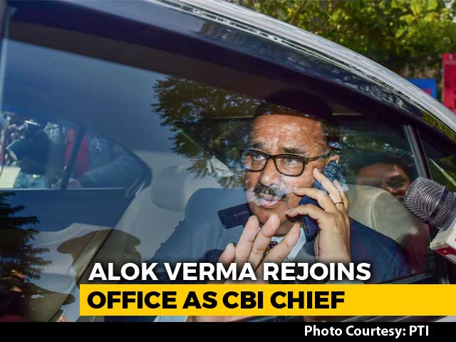 Video : CBI Chief Alok Verma Back To Work, With Wings Clipped, After Court Win