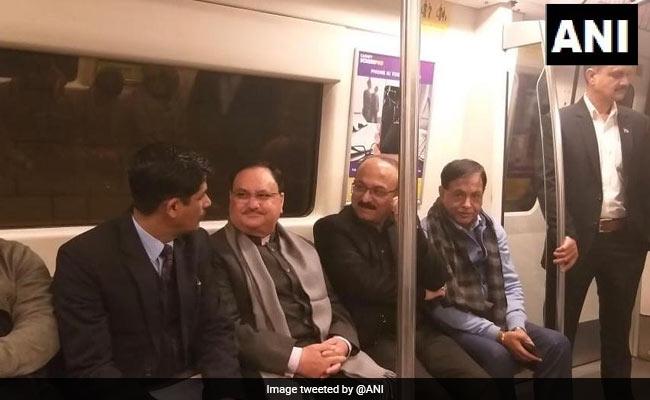 Health Minister JP Nadda Takes Delhi Metro Ride