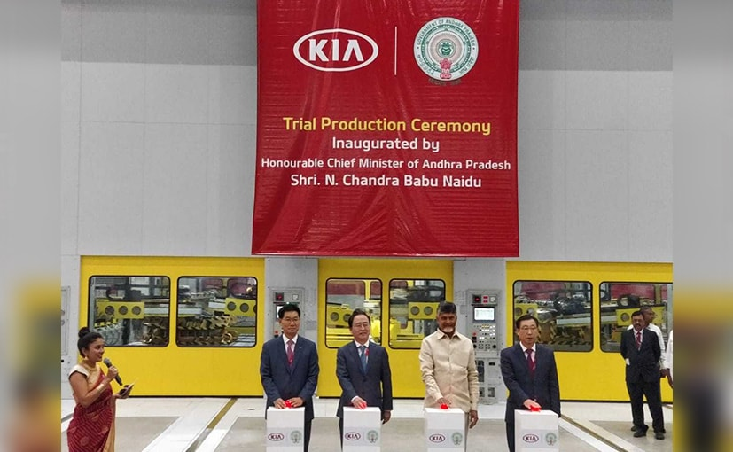 AP CM, N Chandrababu Naidu, Kia MD K Shim at the launch of the trial production.