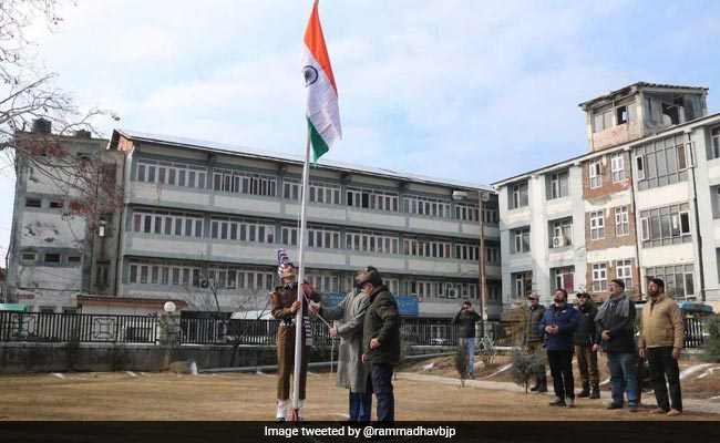 National Flag Unfurled Atop Srinagar Civic Body Building On Republic Day
