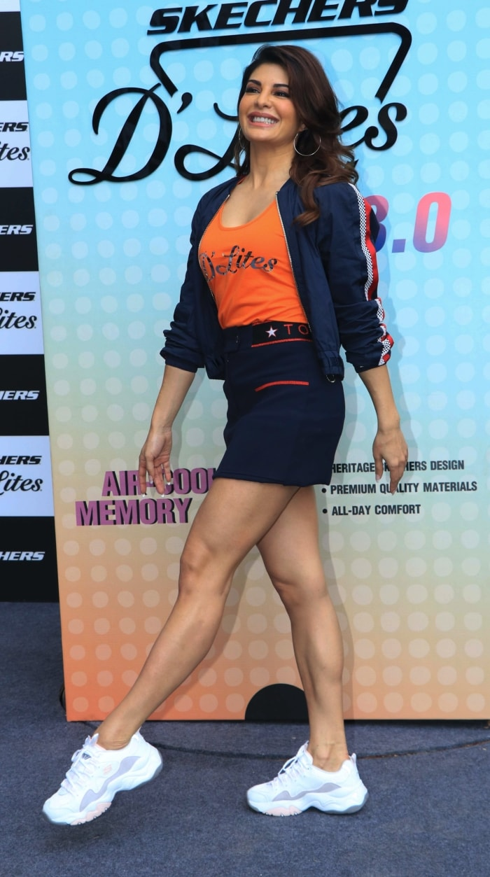 d8d52e1c2f She is wearing a pair of newly-launched Skechers D'Lites sneakers