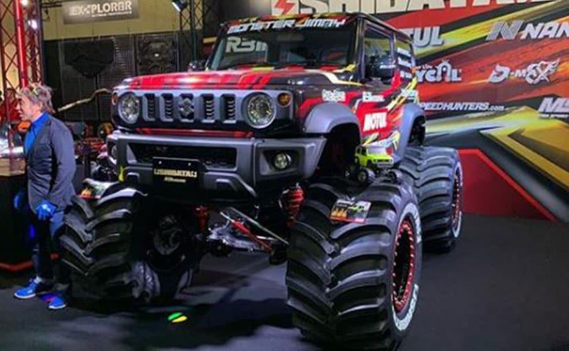 The Suzuki Jimny Monster Truck is shod with 42-inch tyres beadlock wheels