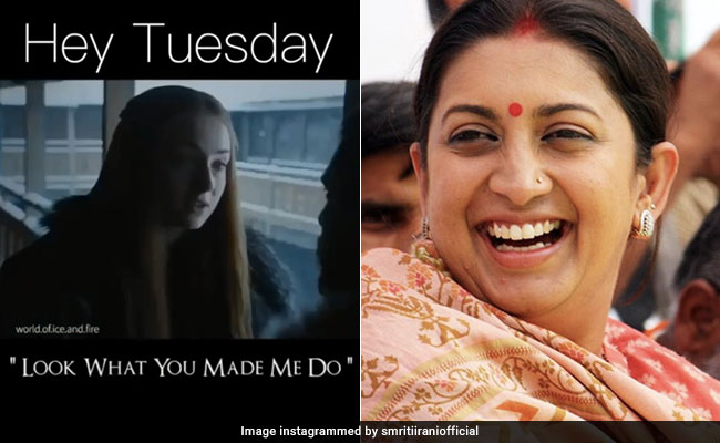 After Monday, Smriti Irani Targets Tuesday With A Game Of Thrones Twist