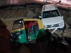 Delhi Road Under Metro Station Caves In, Takes Down Car, Auto