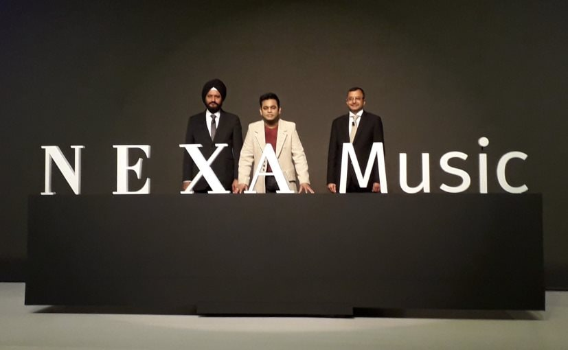 Maruti's Senior Executive Director R.S. Kalsi, Executive Director Marketing Tarun Garg with A R Rahman