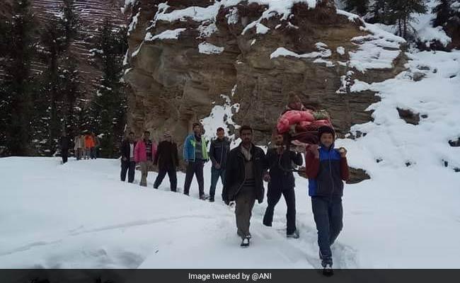 Man Carried On Shoulders To Hospital As Snow Blocks Roads In Himachal