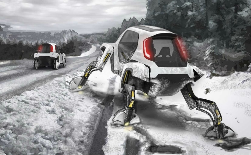 The Hyundai Elevate with its robotic legs can walk or crawl over treacherous terrain.
