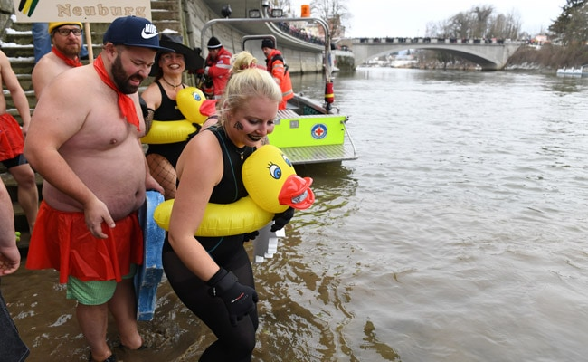 In Icy River Just Above Freezing Point, 'Naked Swimmers' Test Their Nerve