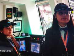 नोएडा-ग्रेटर नोएडा के बीच निकिता और प्रियंका ने चलाई पहली मेट्रो