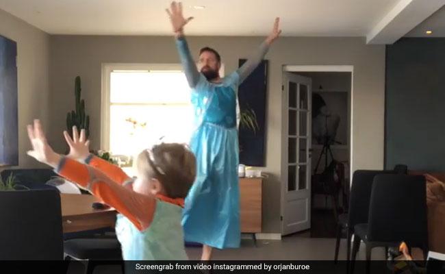 पापा बने परी, बेटे के साथ गाउन पहनकर किया मज़ेदार डांस, Video देख कह उठेंगे क्या जोड़ी है!