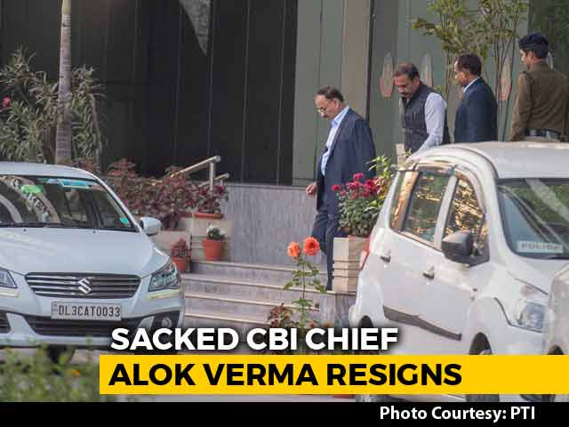 "Video : Sacked CBI Chief Alok Verma Resigns, Says ""Natural Justice Was Scuttled"""