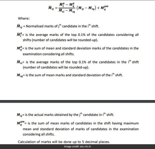 ssc normalization method, ssc normalization formula, ssc cgl, ssc chsl