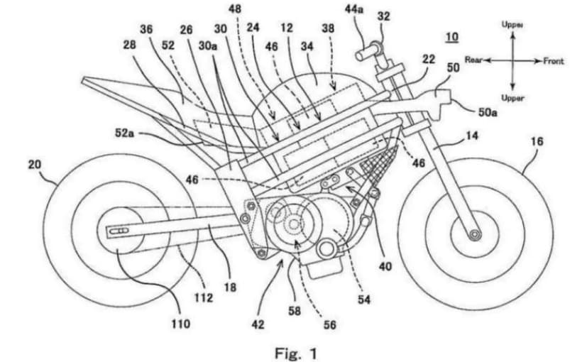 Patent images reveal an interesting design for an electric powered Kawasaki bike