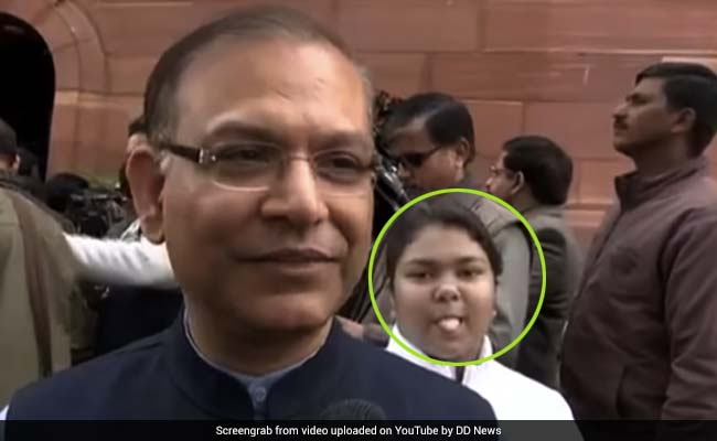 Budget 2019: Minister Jayant Sinha Hilariously Photobombed, Video Goes Viral