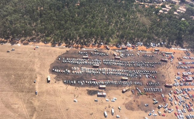 Drone Image Shows Huge Swathe Of Burnt Cars Near Bengaluru Air Show