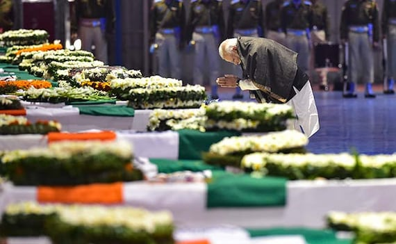As Soldiers' Bodies Arrive, PM, Rahul Gandhi Pay Tribute At Delhi Airport