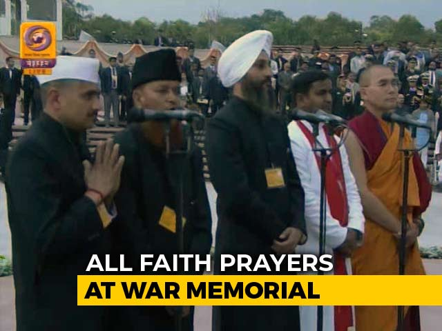 Video : For War Memorial Launch, Multi-Religion Prayers, Choppers Shower Flowers