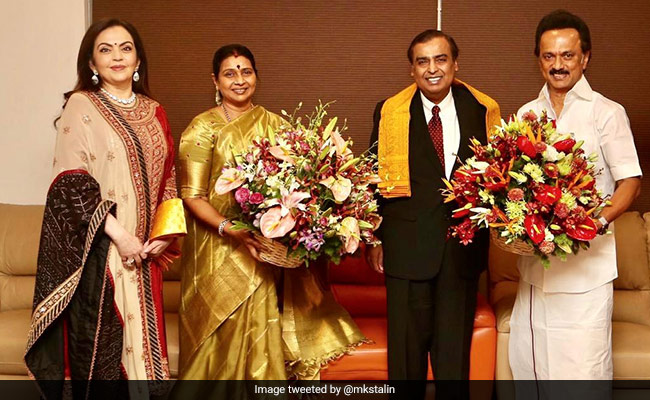 Ambanis Fly To Chennai To Invite DMK Chief MK Stalin For Son's Wedding