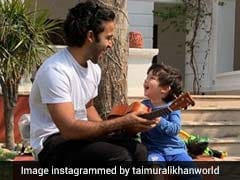 Taimur On Ukelele, Cheered On By Uncle Zahan Kapoor