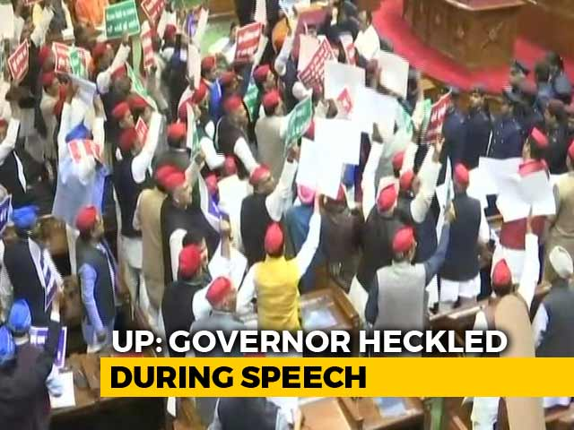 Video : SP And BSP Lawmakers Throw Paper Balls, Climb On Tables In UP Assembly
