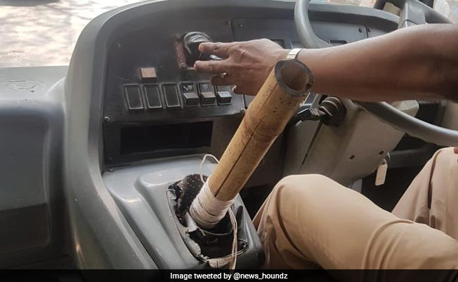 School Bus Driver Using Bamboo Stick As Gear Hits Car In Mumbai