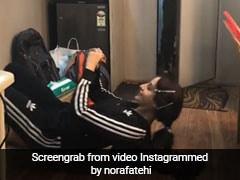 नोरा फतेही कर रही थीं एक्सरसाइज, अचानक इस शख्स ने आकर पकड़ लिए बाल और... देखें Video