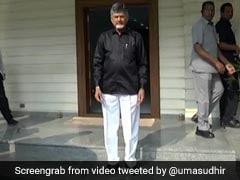 N Chandrababu Naidu Wears Black Shirt To Protest Against Centre