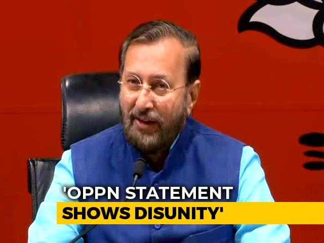"Video : ""Opposition Joint Statement Good News For Pakistan"": Prakash Javadekar"