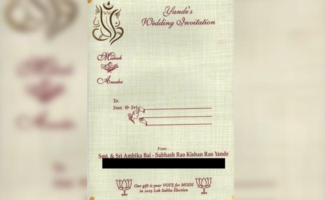 'Vote For PM Modi,' Says Hyderabad Couple On Wedding Invite