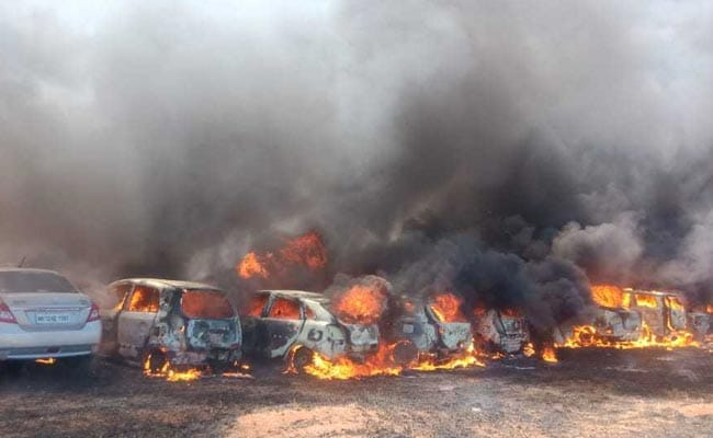 Blaze in Aero India parking area guts 300 cars, no casualties