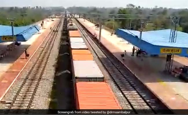 Balangir Railway Stations Train Runs On Track In Odisha.