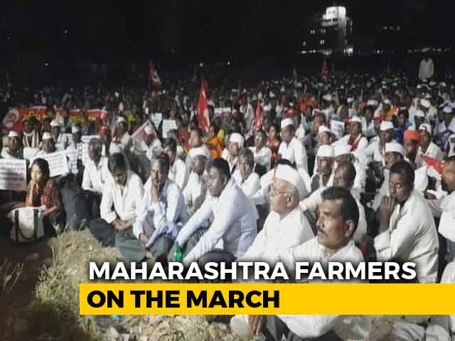 """Video : Second Time In A Year Farmers March Protesting Government's """"Betrayal"""""""