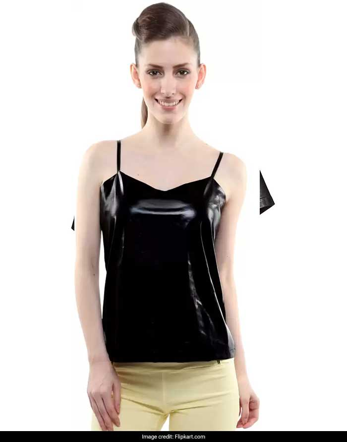 51a7003fc38a2 Go for this Hunputa sleeveless spaghetti tank top. This strappy faux  leather crop top will make for a very sultry party look.
