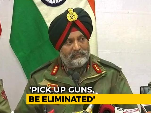 "Video : ""Anyone Who Picks Up A Gun In Kashmir Will Be Eliminated"": Army"