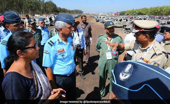 Nirmala Sitharaman Visits Site Of Fire Near Aero India In Bengaluru