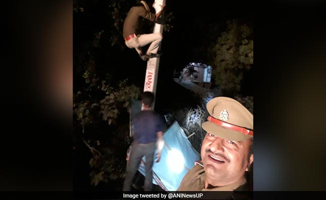 UP Cop Smiles In Selfie As Constable Climbs Electric Pole, Probe Ordered