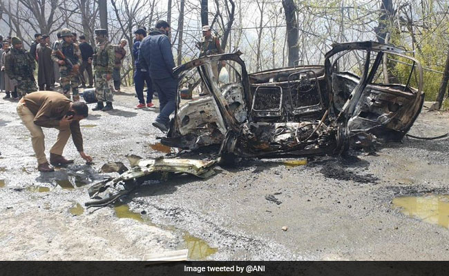 Exploded Car Damages CRPF Vehicle In Jammu And Kashmir's Banihal