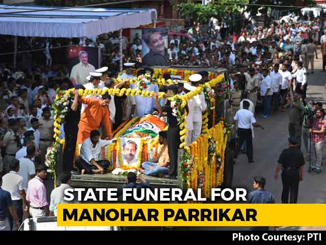 Video : Manohar Parrikar Cremated With State Honours, Thousands Join Procession
