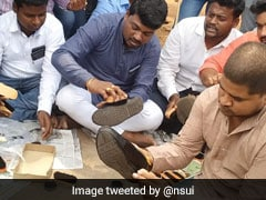 Congress' Student Wing Polishes Shoes To Protest Against Centre Over Jobs