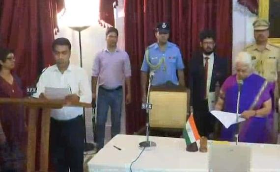प्रमोद सावंत ने राजभवन में रात 2 बजे आयोजित समारोह में गोवा के मुख्यमंत्री पद की शपथ ली