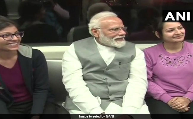 PM Modi Flags Off Red Line Extension Of Delhi Metro, Takes Inaugural Ride