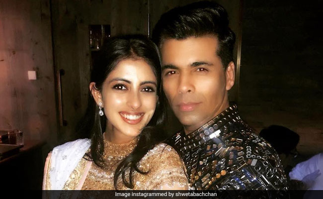 Navya Naveli And Karan Johar At Swiss Ambani Party. Pic Courtesy Shweta Bachchan Nanda