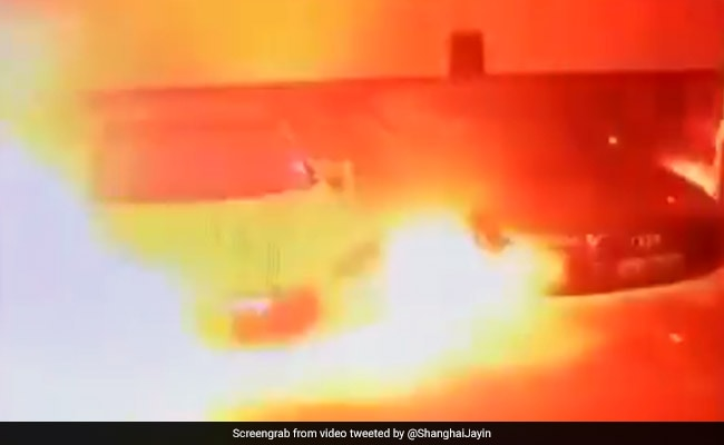 Video shows Tesla Model S burst into flames in Shanghai parking garage